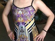 one piece leotard Intricate Purple print