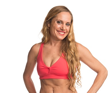 W Anahata Yoga Clothing Coral twist front crop top
