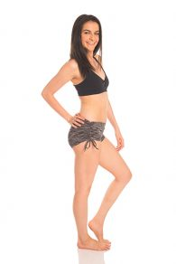 Anahata Yoga Clothing Black Marle Close fitting Yoga Short with adjustable tie sides Black Twist Front Bra Top