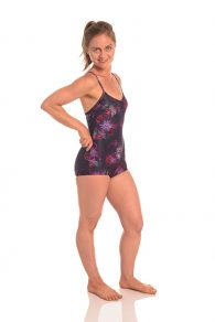 One piece leotard,designed to give plenty of coverage with a lower cut leg shape. Lined front with hidden pocket for your favourite bar pad