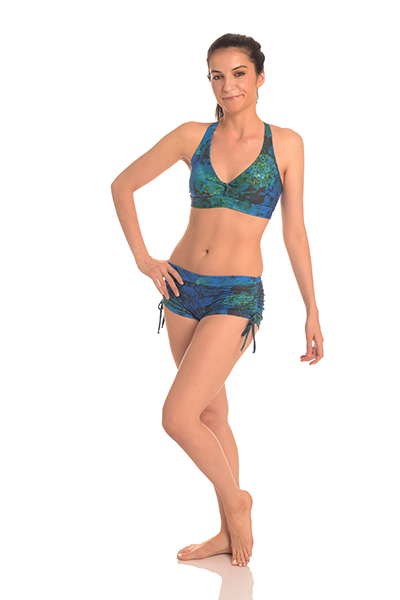b6c96972e7729 Anahata Yoga Clothing Crystal two piece, yoga crop top and tie side shorts