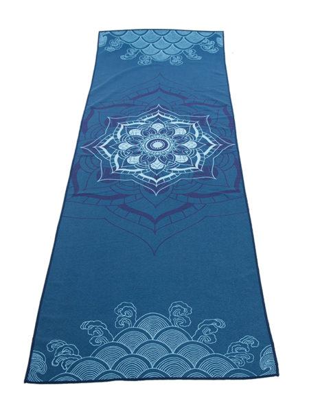 Anahata Yoga Clothing Limited Edition Printed Non Slip Yoga Towel Blue Mandala