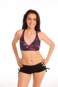 Anahata Yoga Clothing Chakra crop top with black tie side short