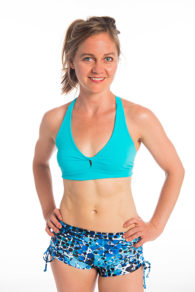 Anahata Yoga Clothing Elise  tie side shorts with twist front aqua crop top