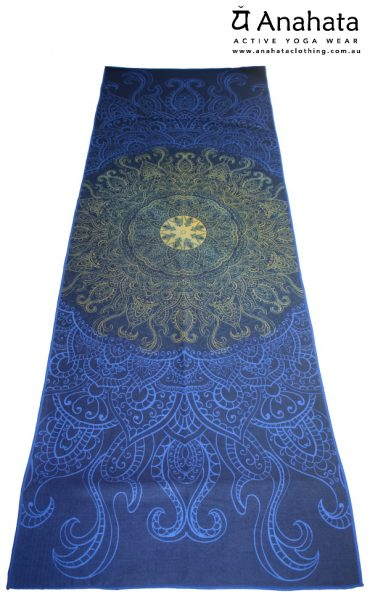 Anahata Yoga Clothing Limited Edition Printed Non Slip Yoga Towel Blue & Gold Mandala